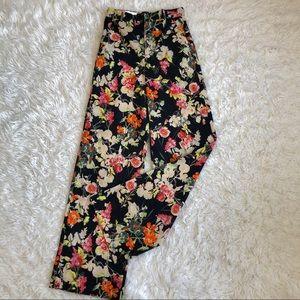 Zara High Waisted Wide Leg Floral Pants